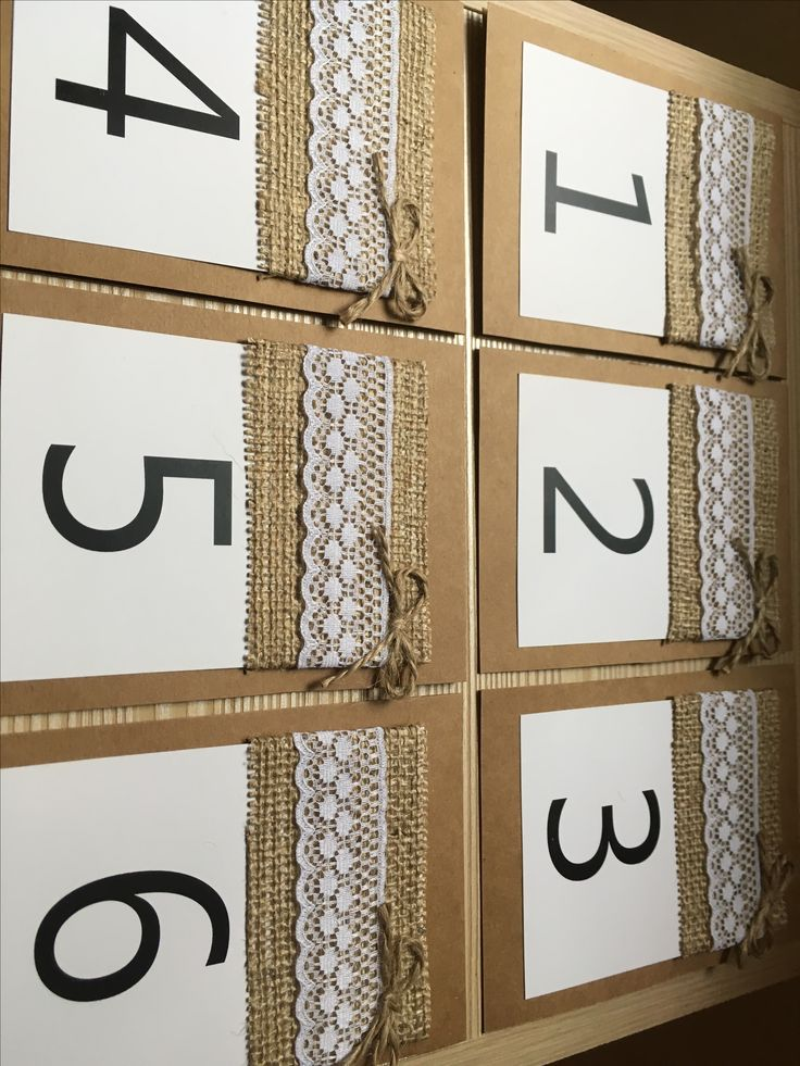 Números de mesa de papel 10x13 con franja rustica de arpillera #numerosdemesa #papel #indicadores #numbers #numeros #mesa #table #centrosdemesa #casamientos #15años #bodas #eventos #fifteen #mesadelosnovios #arpillera #puntilla #hilodeyute