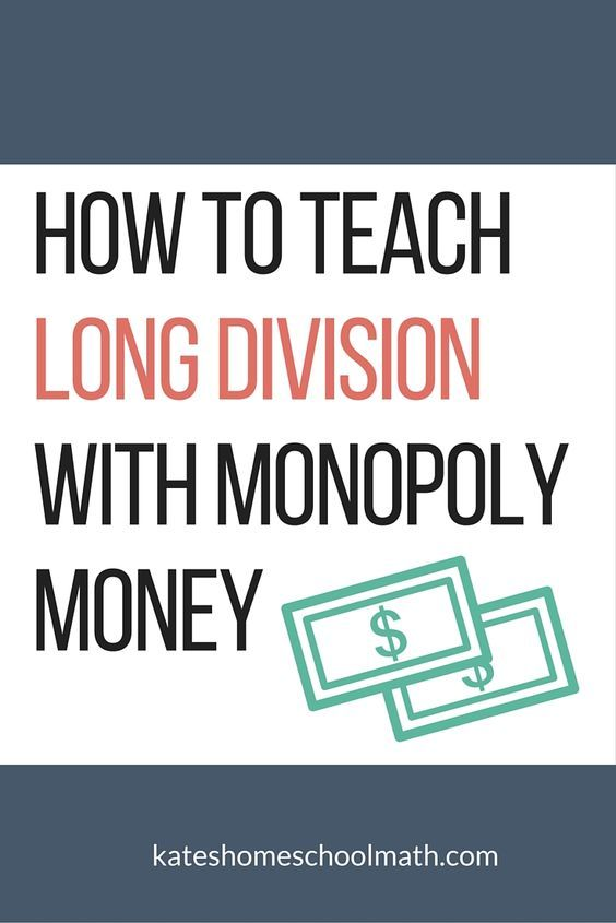 Frustrated teaching long division? Monopoly money to the rescue! You'll learn how to teach your child both HOW to do long division and WHY it works.