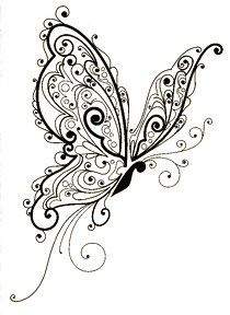"Butterfly Flourish ~ Inkadinkado Rubber Stamp ~ 2.5"" x 3"""