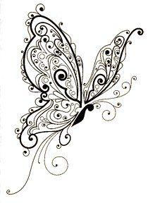 "Butterfly Flourish ~ Inkadinkado Rubber Stamp ~ 2.5"" x 3"""
