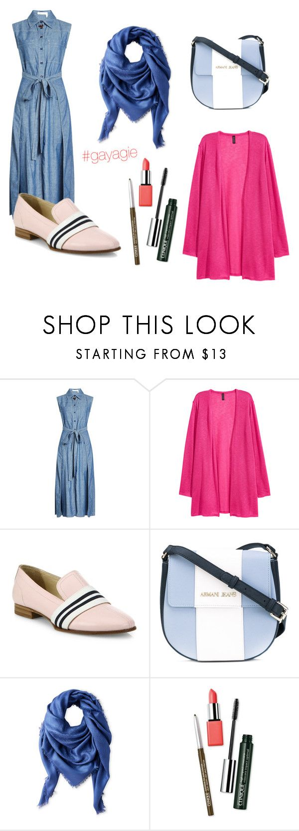 """""""Denimgie"""" by anggiswastika on Polyvore featuring See by Chloé, rag & bone, Armani Jeans, Liberty, Clinique and gayagie"""