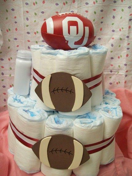 """Oklahoma University Football themed """"Diaper Cake"""""""