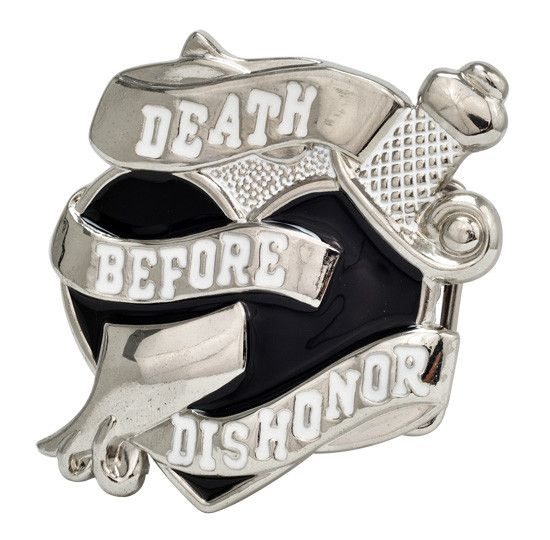 Unisex Death Before Dishonor Heart Military Ribbon Belt Buckle