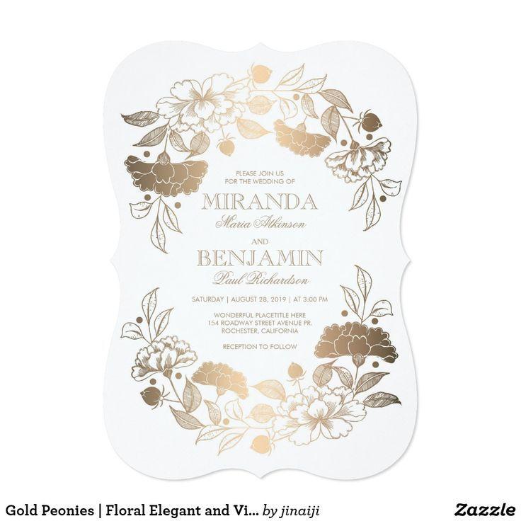 Gold Peonies Floral Elegant And Vintage Wedding Invitation Zazzle Com Floral Wreath Wedding Invitation Vintage Wedding Invitations Vintage Wedding Cards