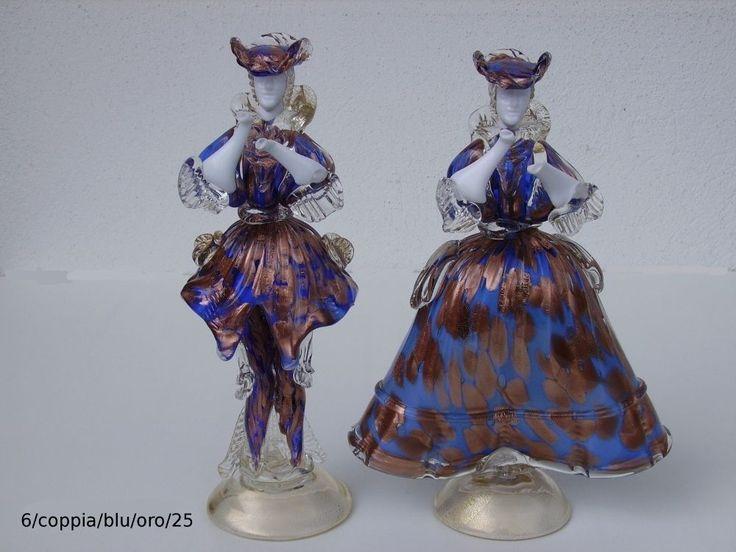 VENEZIANISCHE FIGUREN (DAMA E CAVALIERE) AUS MURANO GLAS 6/COPPIA/BLU/ORO/25 cm