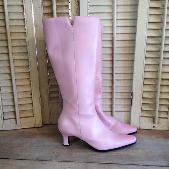 Pink Kitten Heel Boots Pink Go Go Boots Size 8M by couturecafe, $52.00