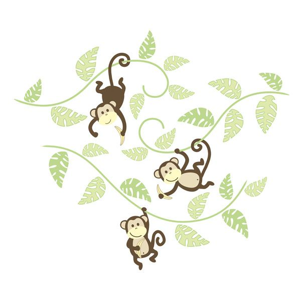 Bon WallPops Monkeying Around Wall Art Kit #walldecals #wallart #peelandstick  #WallPops #wallstickers