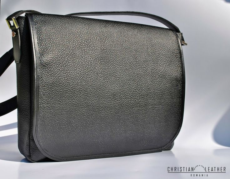 Men's Black City Bag, messeneger bag designed by Christian Leather. Get yours now!