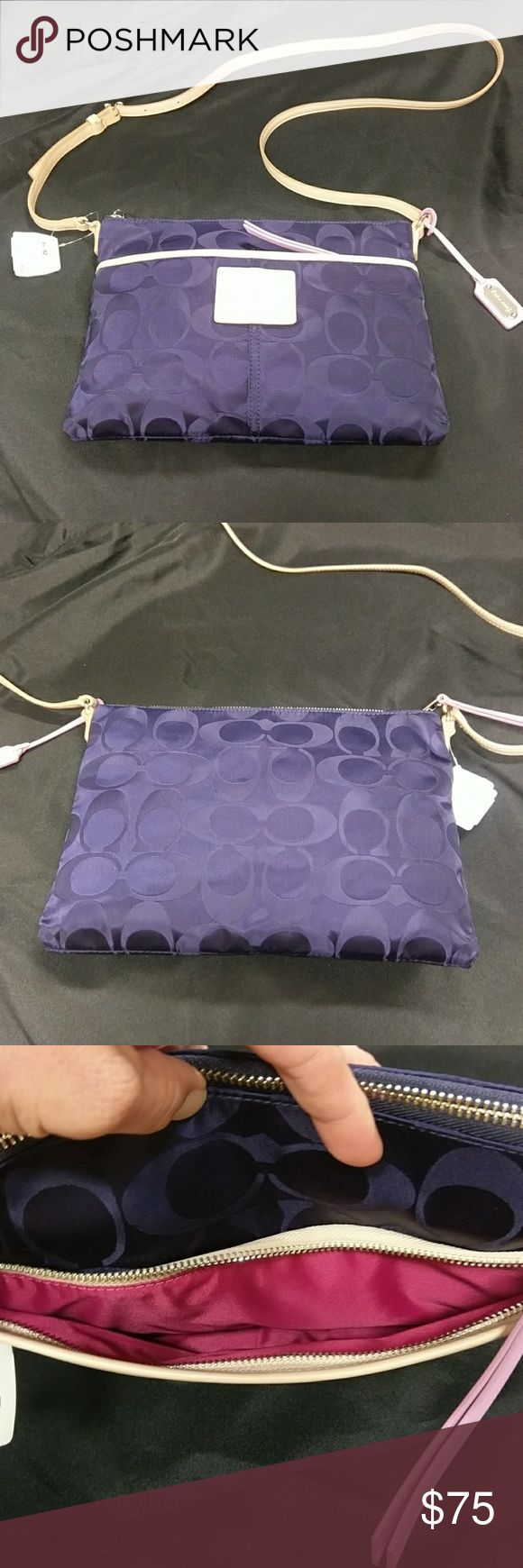 "Coach Legacy Weekend Signature Hippie NWT Coach Legacy Weekend Signature Hippie NWT Navy Nylon comes with dust bag. 11""L x 8""H x 1"" new never used perfect condition. Coach Bags"