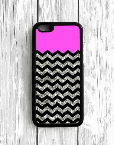 Black Chevron Blue Glitter iPhone SE Case
