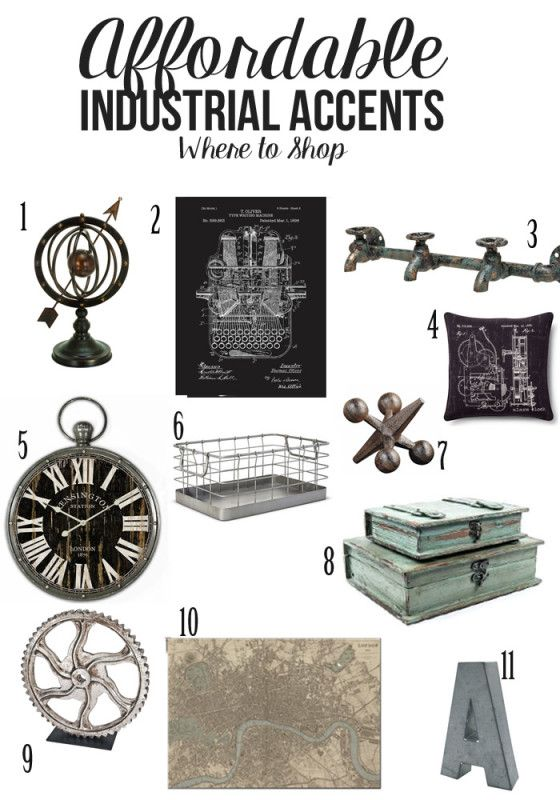Affordable Industrial Accents and where to shop - includes an industrial bedroom design to start decorating today!