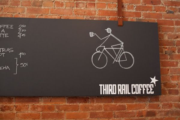 Third Rail Coffee - leather straps to hang chalkboards