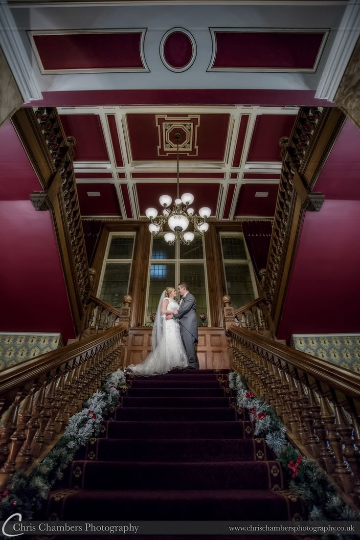 Rossington Hall wedding photography | Rossington Hall wedding photographer | http://www.chrischambersphotography.co.uk The bride and groom sharing a moment on the staircase of Rossington Hall