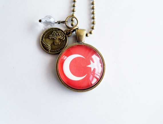 Flag of Turkey Necklace Turkish Flag World Flags by OxfordBright