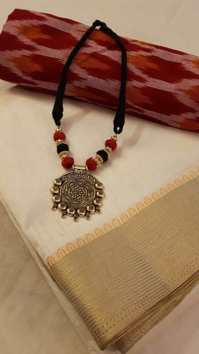 Raw silk with extra Ikkat blouse and matching necklace for ₹1995 Available at: www.facebook.com/Weavestore