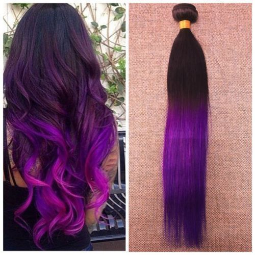 "10"" 1B/Violet 2 Tone Ombre Color 100% Remy Human Hair Weft 100g/bundle Straight #FullShine #Ombr"