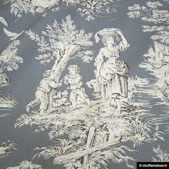 Fabric pure cotton rib grey Toile de Jouy rural by stoffamstueck