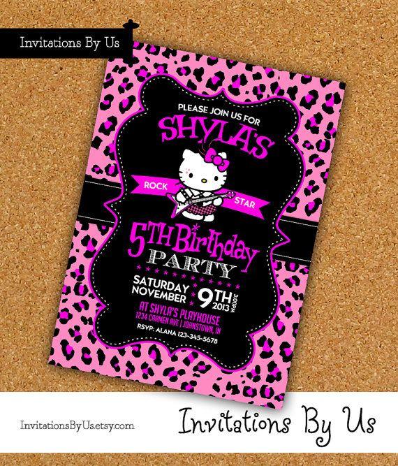 Rockstar Hello Kitty birthday invitation  girl by InvitationsByUs, $16.99