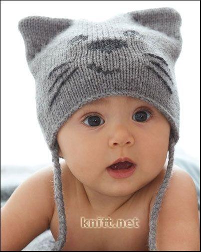 Шапочка спицами для новорожденного мальчика