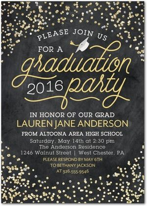 Celebratory Confetti - Graduation Invitations - Sarah Hawkins Designs - Polenta - Yellow : Front
