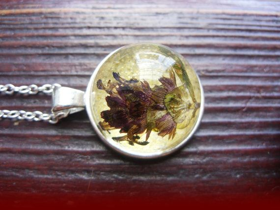 ON SALE Necklace with dried flower in resin by zusnA on Etsy