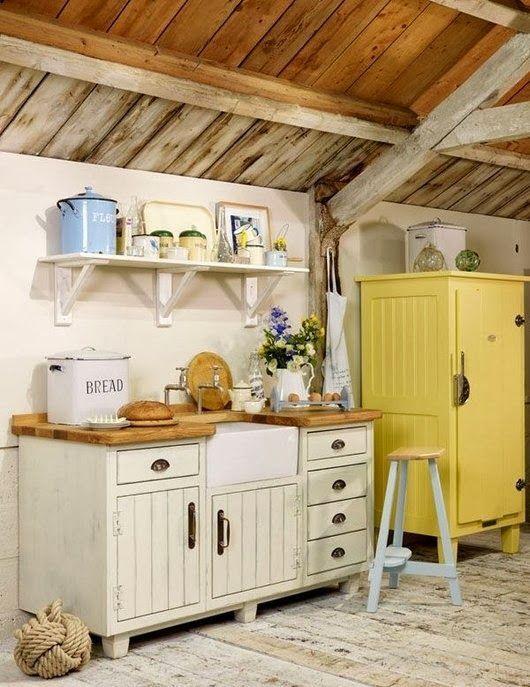 yellow kitchen cupboard