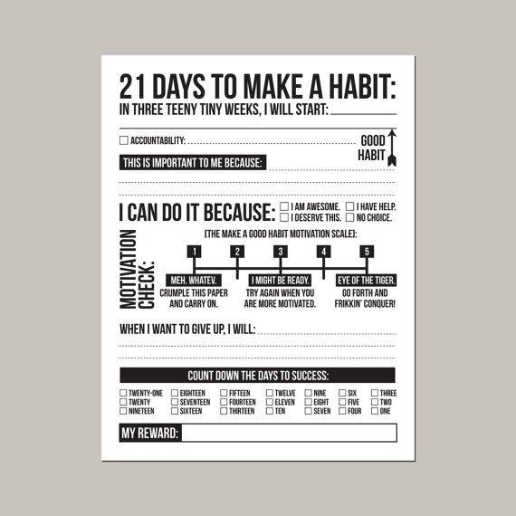 21 days to make a good habit: printable pdf sheet door microdesign