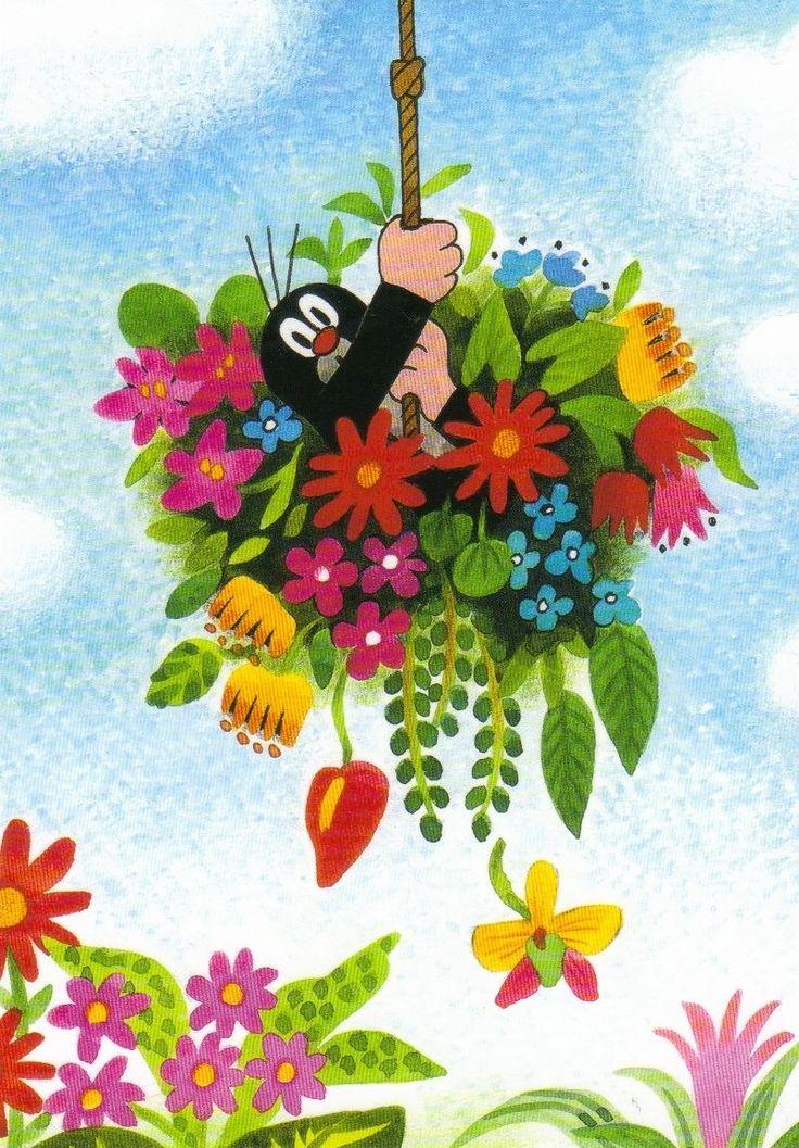 Ansichtskarte: Der kleine Maulwurf in den Blumen - The little mole • EUR 1,00…
