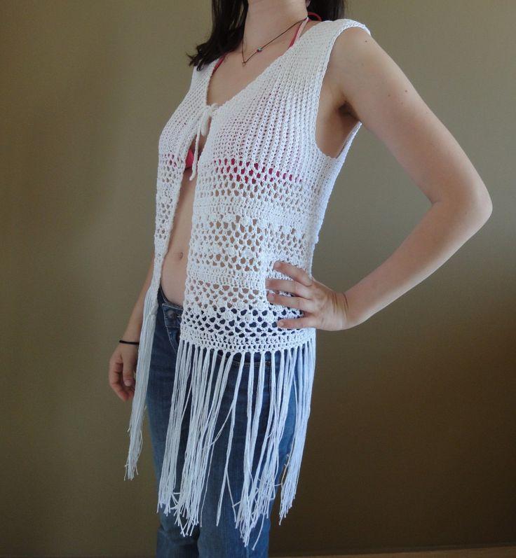 viscose cotton handmade crocheted knitted vest bohemian boho hippie fringe lace beach weddings white by TheoMez on Etsy