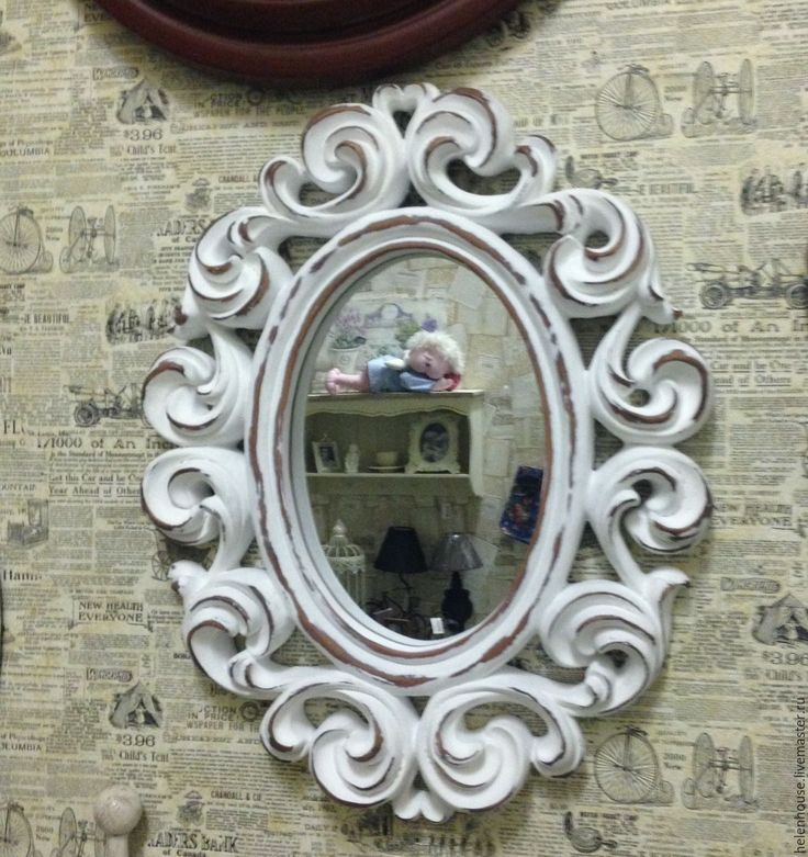 """Купить Настенное овальное зеркало """"Шебби"""" - белый, зеркало, прованс, прованский стиль, шебби, винтаж"""