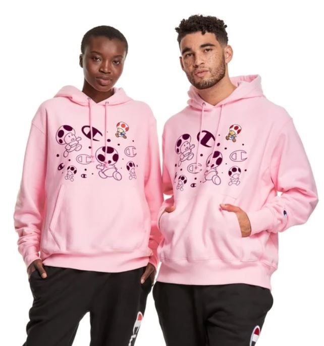 Champion Reverse Weave Logo Youth Knockout Pink Powerblend Pullover Hoodie