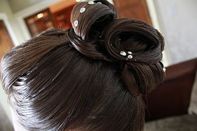 #Ballroom Hair. High Bun. Rhinestones. Hair By Lindsay Lee. More Angles On Blog! http://www.dancingfeeling.com/