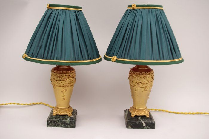 Pair of small Louis XVI style night stand lamps signed Louchet, 19th century - Jean-Luc Ferrand Antiquités
