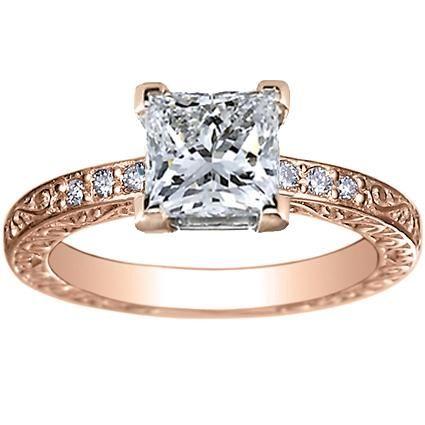 Rose Gold Solitaire Engagement Ring Princess Cut Diamond 35