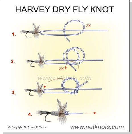Harvey Dry Fly Knot - This one is for all my fly fishing friends. This is a great knot for dry flies with a down turned eye. Offers great dry fly presentation. And conveniently named.