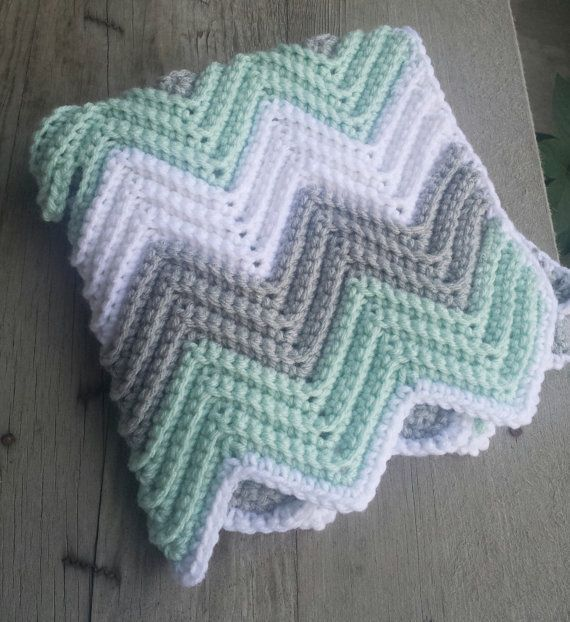 Crochet chevron baby blanket with holes for car by MalindasDesigns