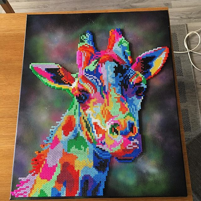 Colorful perler bead giraffe by artbyfredd