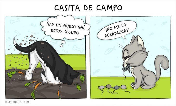 Comic que muestra las diferencias de vivir con un perro y con un gato cuando salen de paseo