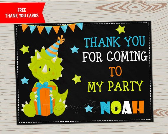 Little cute dinosaur birthday invitation + FREE Thank you cards! Take a look at all my Dinosaur cards: https://www.etsy.com/shop/FunnyBunnyCreative?search_query=dinosaur This listing is personalized invitation card, It can be customized into 5*7 or 4*6 inches format, and sent in