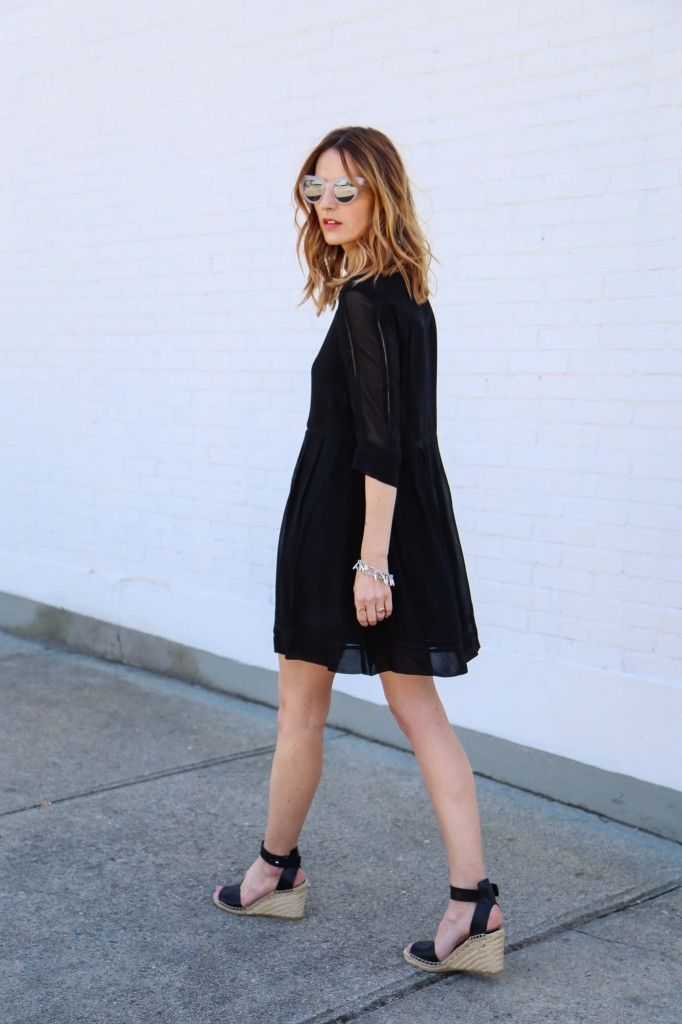 Go glam in espadrille wedges, a flowy little black dress and mirrored sunnies. Perfect summer night out look!