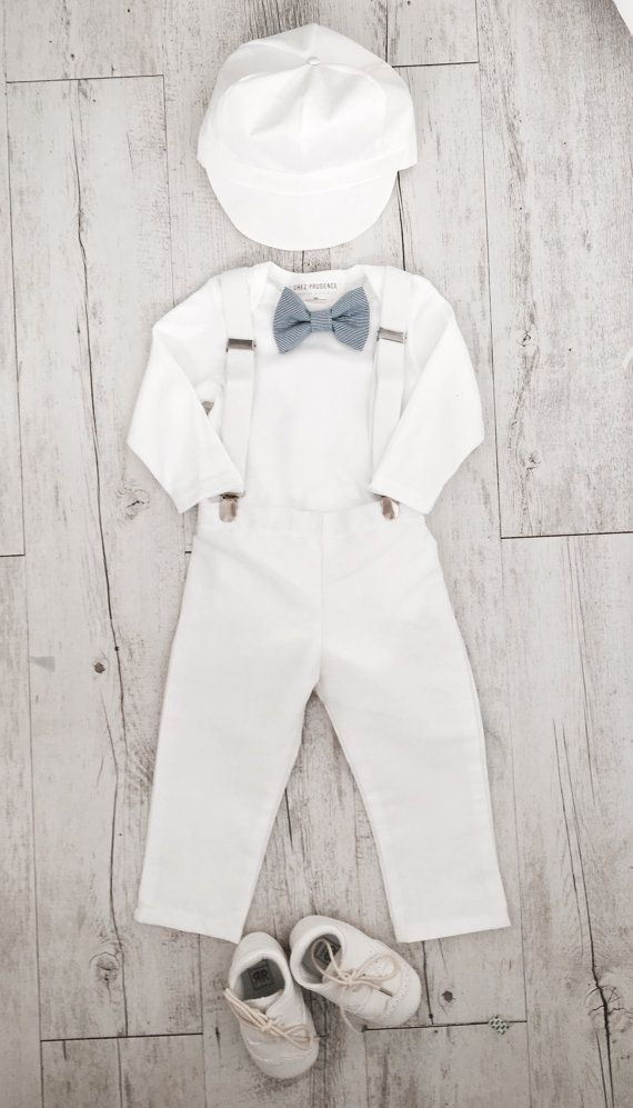 Baby boy Baptism outfit white onesie suspenders by ChezPrudence