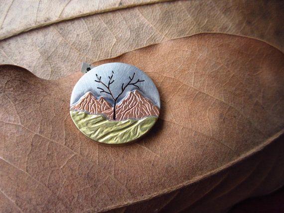 Paisaje de metales mezclados montaña árbol de la vida por LMArts