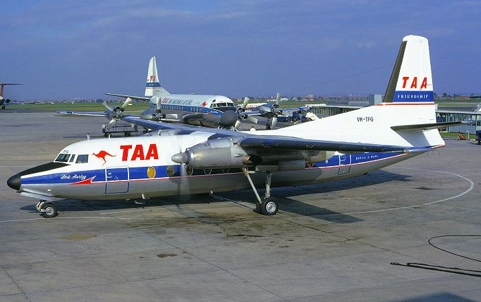 """Trans Australia Airlines - TAA Fokker F-27-100 Friendship VH-TFG """"Dirk Hartog"""" at Melbourne-Essendon, September 1969. A company Lockheed L-188A Electra is parked in the background."""