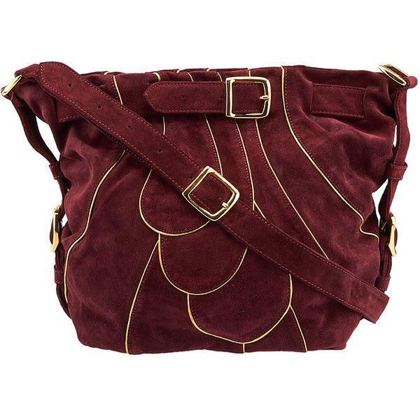 chloe red handbag - Pre-owned Chloe Vintage Burgundy Suede & Gold Leather Piping ...