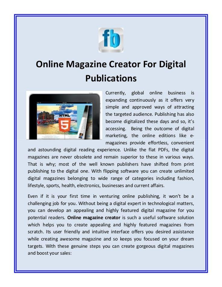 Online magazine creator create magazine  online having good quality effect.