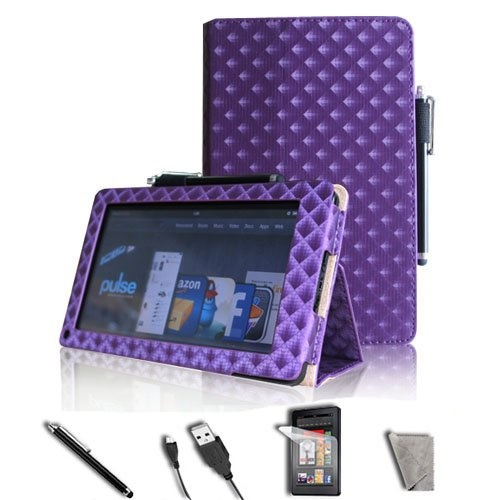 """#good FINTIE Diamond Style Purple PU Leather Folio Case Cover Value Package with Free Screen Protector/Stylus/USB cable for Amazon Kindle Fire 7"""" TabletS   - http://wp.me/p291tj-dO"""