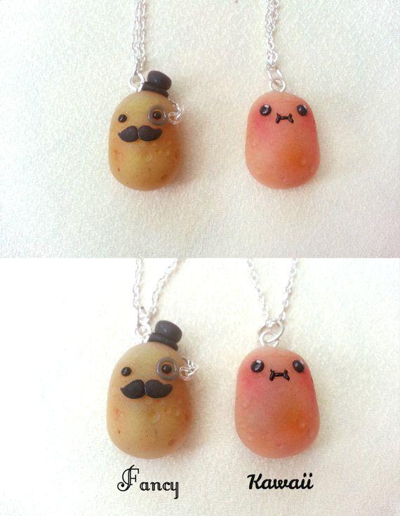 Kawaii and fancy potato pendant handmade by ClayCreationsForEver