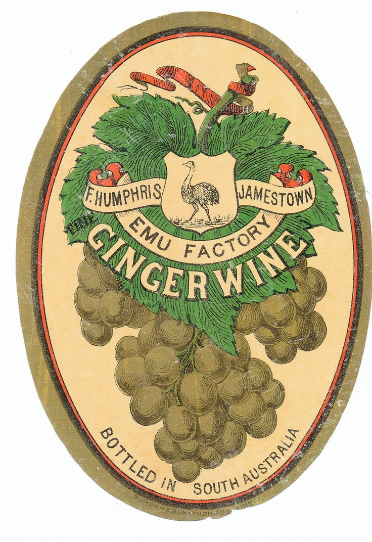 Another superb Australian vintage label. This ginger wine label from the same factory as Boomerang Tonic. That is Humphris of Jamestown South Oz and again its from  the Emu factory. This one is shallaced or covered in a light glaze, a very sure sign of an ancient label, at least early 1900s but could be earlier. NOT a vanished drink, we can still enjoy ginger wine today and its nice with whisky...