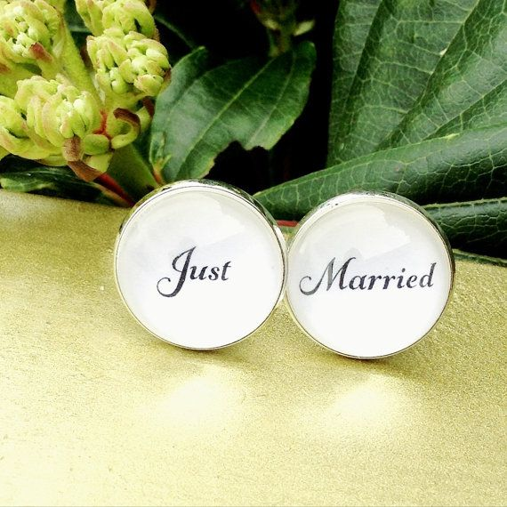 Groom Gift Just Married Cufflinks Wedding #etsy #wedding #handmade by OverTheMoonBridal