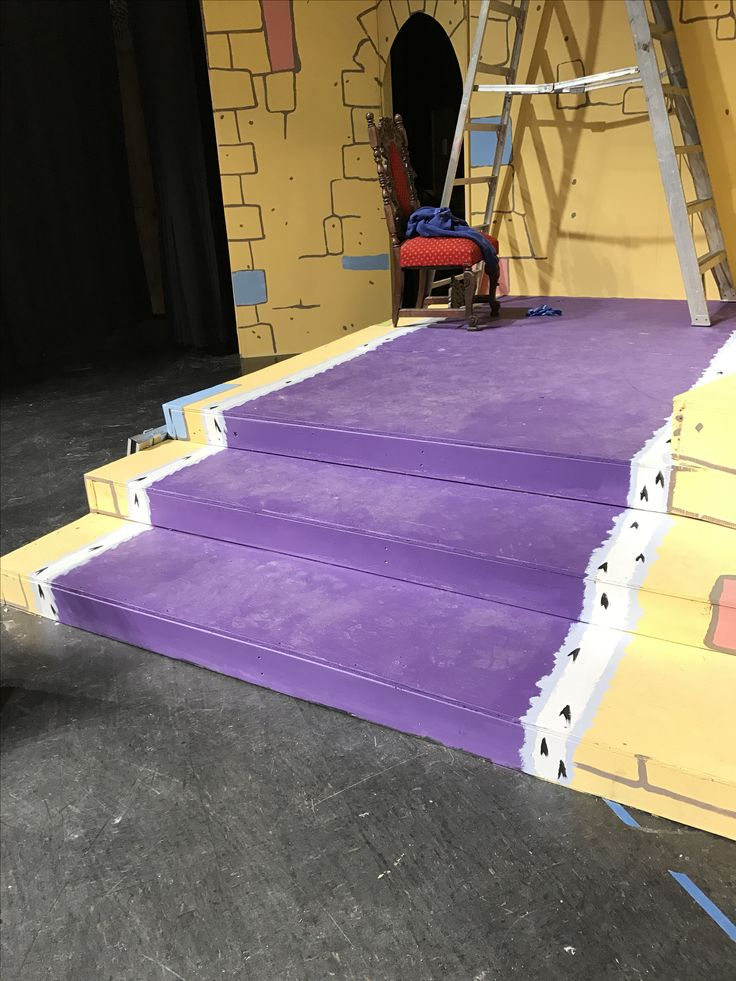 Throne room stairs got ermine trimmed royal purple painted runner. Once Upon a Mattress